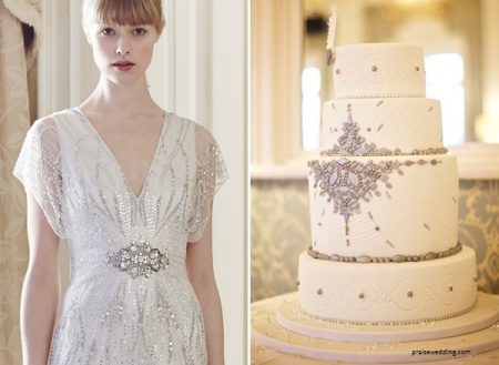 bolo6 1 450x329 - Bolo de casamento inspirado no vestido da noiva