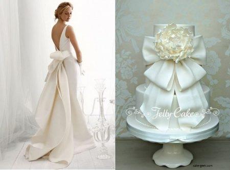 bolo10 1 450x333 640x480 - Bolo de casamento inspirado no vestido da noiva