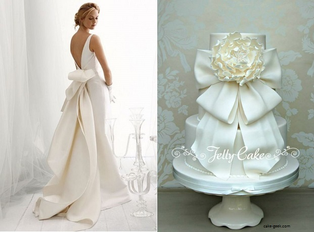 bolo10 1 - Bolo de casamento inspirado no vestido da noiva