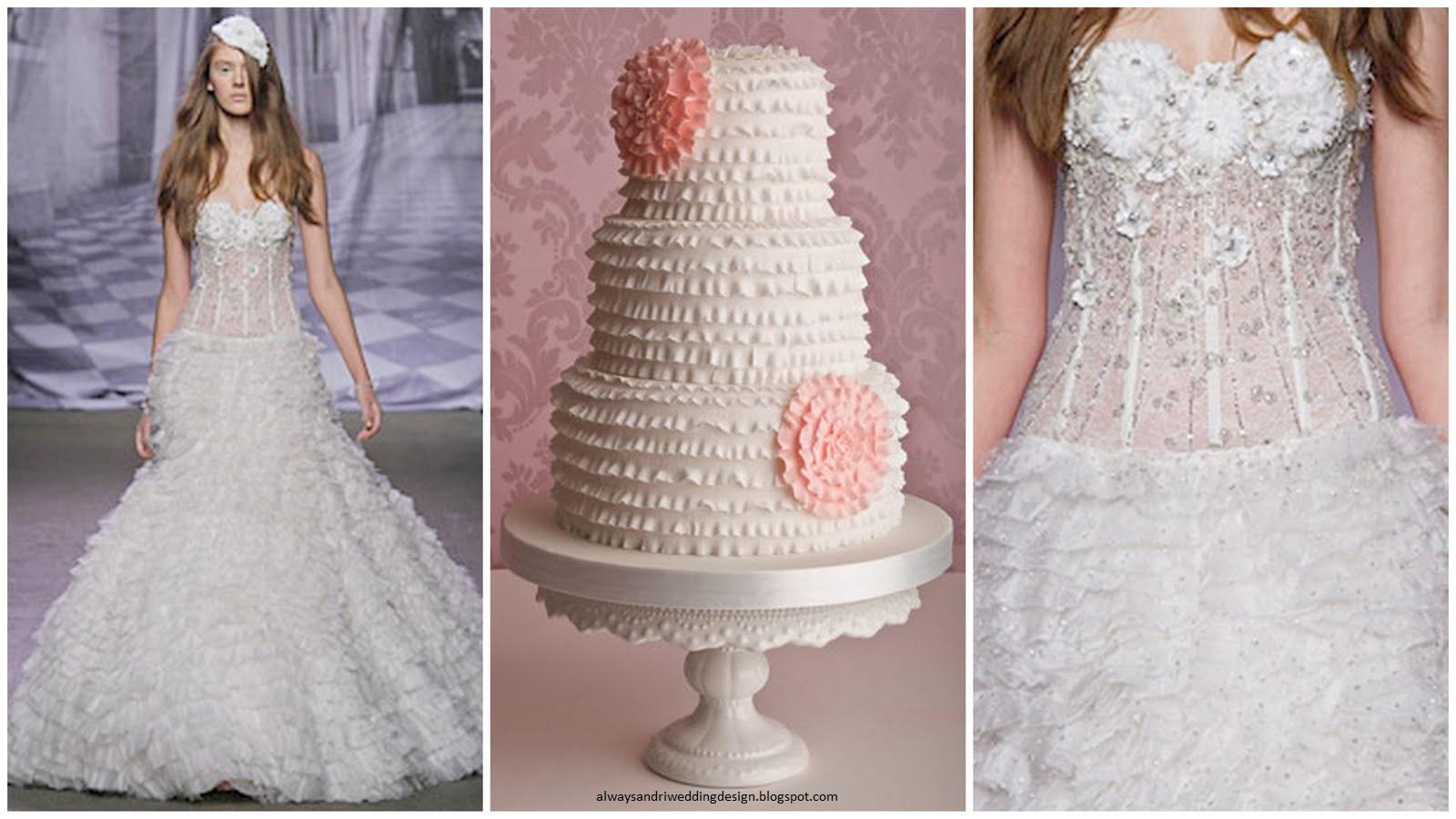 bolo12 1 - Bolo de casamento inspirado no vestido da noiva