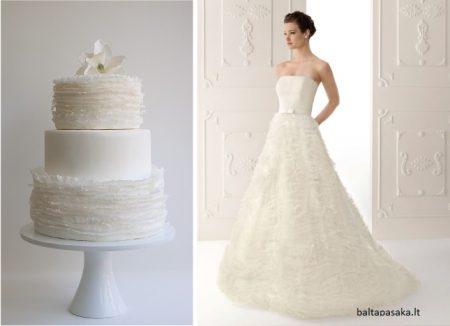 bolo18 450x326 640x480 - Bolo de casamento inspirado no vestido da noiva