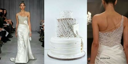 bolo19 450x226 640x480 - Bolo de casamento inspirado no vestido da noiva