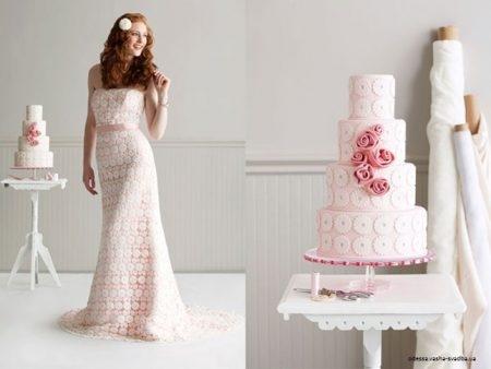 bolo2 1 450x338 640x480 - Bolo de casamento inspirado no vestido da noiva