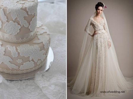 bolo20 450x334 640x480 - Bolo de casamento inspirado no vestido da noiva