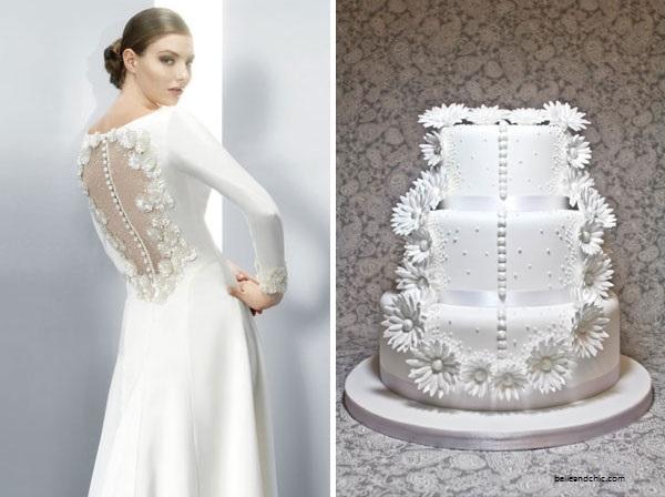 bolo3 1 - Bolo de casamento inspirado no vestido da noiva
