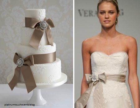bolo4 1 450x350 640x480 - Bolo de casamento inspirado no vestido da noiva