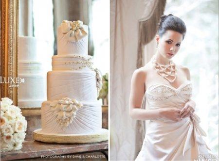bolo7 1 450x332 640x480 - Bolo de casamento inspirado no vestido da noiva