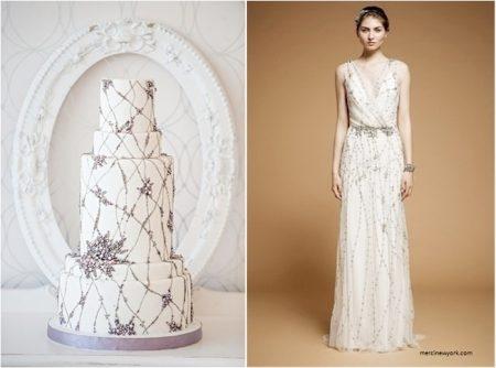 bolo8 1 450x334 640x480 - Bolo de casamento inspirado no vestido da noiva