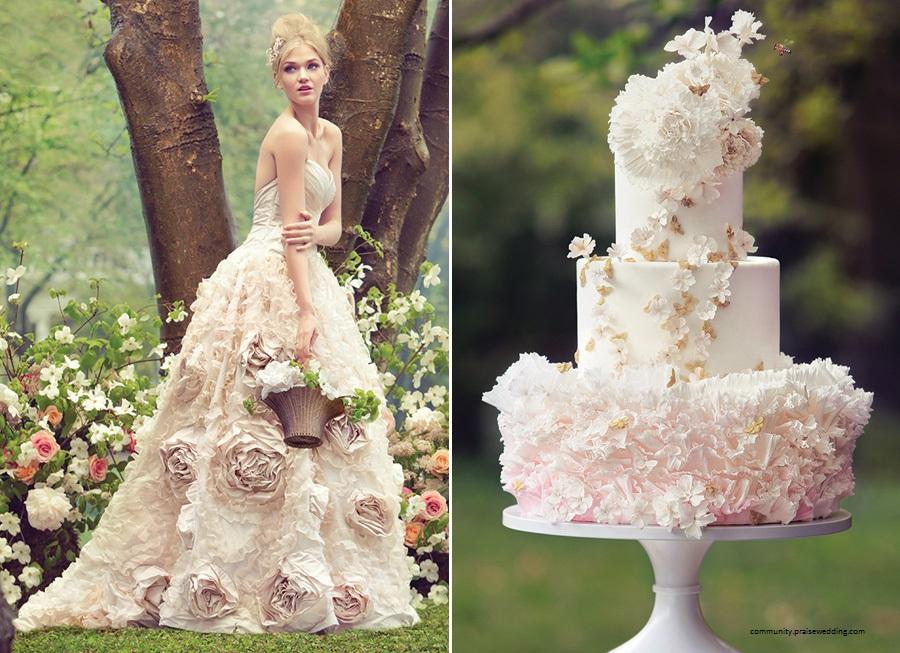 bolo9 1 - Bolo de casamento inspirado no vestido da noiva