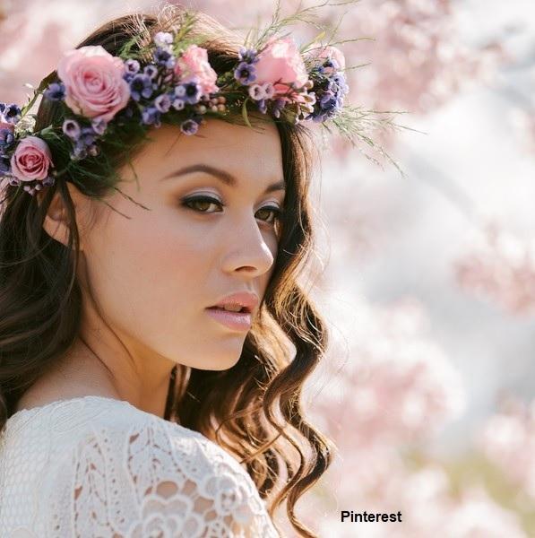 Penteado com grinalda de flores - Penteados com grinaldas de flores