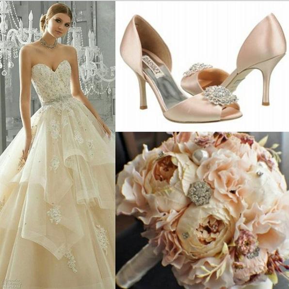 Mori Lee dress Madgley Mischka shoes - Ideias de decoração em rosa velho para o seu casamento romântico