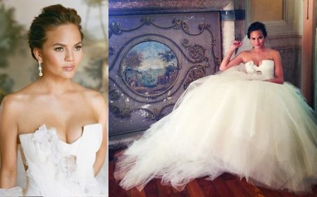 Chrissy Teigen vestida de noiva