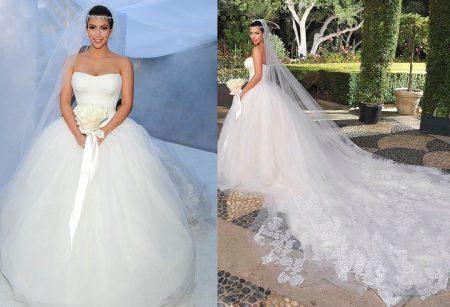 Celebridade Kim Kardashiian vestida de noiva