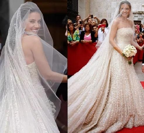 María Colonques vestida de noiva