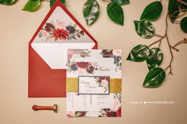 Casamento tons de vermelho convites 1 650x434 - Casamento em tons de vermelho